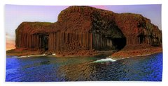 Beach Towel featuring the photograph Staffa And Fingal's Cave - Scotland - Sunset by Jason Politte