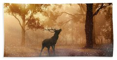 Stag In The Forest Beach Towel