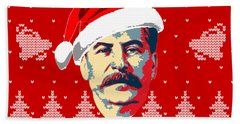 Stalin Merry Christmas Russian Letters Beach Towel