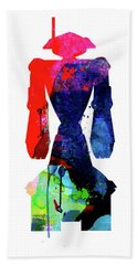 Star Droid Watercolor 5 Beach Towel