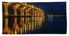 Starburst Bridge Reflection Beach Towel