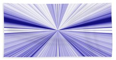 Starburst Light Beams In Blue And White Abstract Design - Plb455 Beach Towel