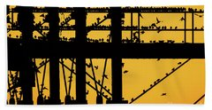 Starlings At Golden Hour On Aberystwyth Pier Beach Towel