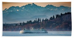 State Ferry And The Olympics Beach Towel