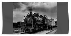 Steam Locomotive In Black And White 1 Beach Towel