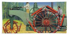 Steam Traction Engine Created To Work In The Sugar Plantations Of Cuba Beach Towel
