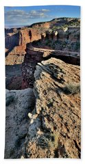 Steep Dropoff In Canyonlands Shafer Canyon Beach Towel