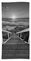 Steps To The Sun  Black And White Beach Sheet