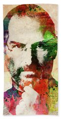 Steve Jobs Watercolor Portrait Beach Towel