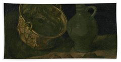 Still Life With Brass Cauldron And Jug Beach Towel