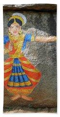 Stone Painting Of Nautch Dancing Gir Beach Towel