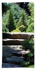 Stone Stairs In Chicago Botanical Gardens Beach Sheet
