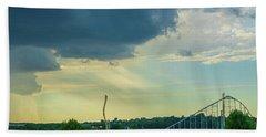 Storm Approaching Amusement Park Beach Towel