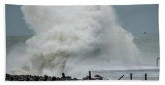 Storm Brian Hitting Aberystwyth Lighthouse Beach Towel