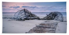 Beach Towel featuring the photograph Storm Fence Sunrise by Steve Stanger