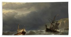 Storm In The Strait Of Dover Beach Towel