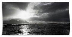 stormy coastline in northern Norway Beach Towel