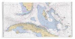 Straits Of Florida Nautical Chart 11013 Beach Towel