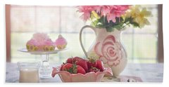Beach Towel featuring the photograph Strawberry Breakfast by Top Wallpapers