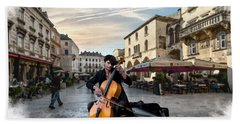 Street Music. Cello. Beach Towel