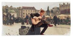 Street Music. Guitar. Beach Towel