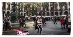 Street Music. Guitar. Barcelona, Plaza Real. Beach Towel
