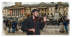 Street Music. Violin. Trafalgar Square. Beach Towel
