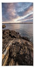 Beach Towel featuring the photograph Striations. Leading Lines In The Rocks by Jeff Sinon