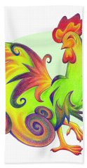 Stylized Rooster I Beach Towel
