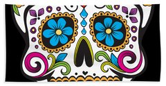 Beach Towel featuring the digital art Sugar Skull Day Of The Dead by Flippin Sweet Gear