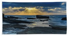 Sun Rays Burst Through The Clouds - Seascape Beach Sheet