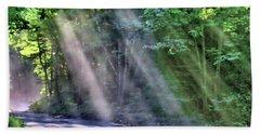 Beach Towel featuring the photograph Sun Streaks by Debbie Stahre