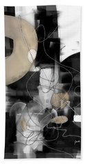 Sunday Morning Large Modern Black And White Abstract Painting Beach Towel