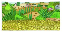 Sunflower French Countryside Beach Towel