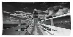 Beach Towel featuring the photograph Sunny Skies At Marshall Point In Black And White by Rick Berk
