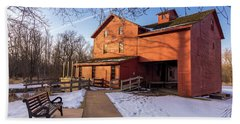 Sunny Winter Day At Bonneyville Mill Beach Towel