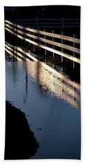 Beach Towel featuring the photograph Sunrise Fence And Reflection 2 by Jerry Sodorff