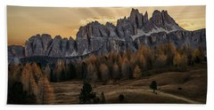 Sunrise In The Dolomites Beach Towel