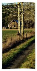 Beach Towel featuring the photograph Sunrise On The Barn by Jerry Sodorff