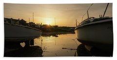 Sunrise Over Aberystwyht Harbour Beach Towel