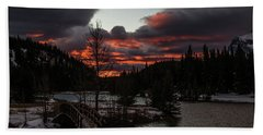 Sunrise Over Cascade Ponds, Banff National Park, Alberta, Canada Beach Sheet