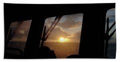 Sunset At Sea Beach Towel