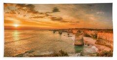 Sunset At The Twelve Apostles Beach Towel