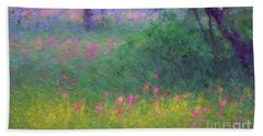 Sunset In Flower Meadow Beach Towel
