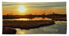 Sunset In Pitt Meadows Beach Towel