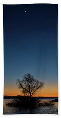 Sunset In The Refuge With Moon Beach Towel