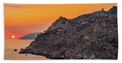Beach Towel featuring the photograph Sunset Near Cape Tainaron by Milan Ljubisavljevic