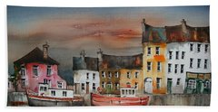 Beach Towel featuring the painting Sunset On  Cloondra, Co. Longford by Val Byrne