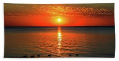 Beach Towel featuring the photograph Sunset On Green Bay by Dawn Richards