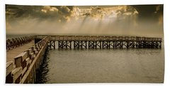 Sunset On Pier Beach Towel